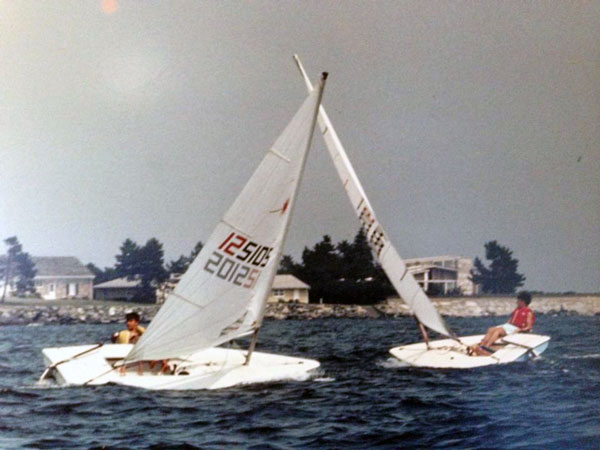 Two Laser dinghy racers in 1986