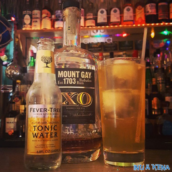 Mount Gay XO rum and fever tree tonic