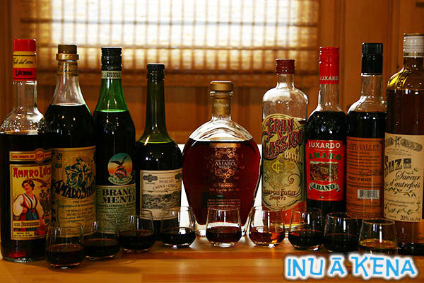 Amari/bitter liqueur bottles and glasses