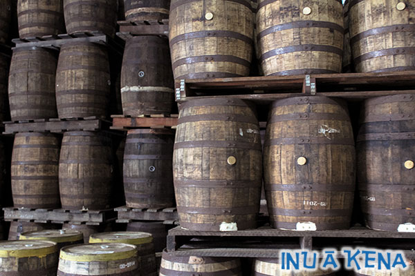 Rum aging in barrels at Foursquare distillery