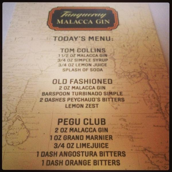 Tanqueray Malacca Cocktail Menu