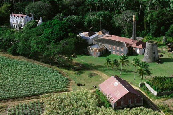 An aerial view of Saint Nicholas Abbey in Saint Philip, Barbados