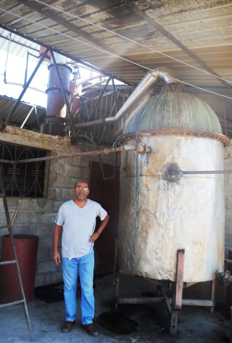 The still at Arawak Distillery