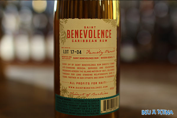 Saint Benevolence Rum back label