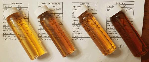 Vials of fake rum