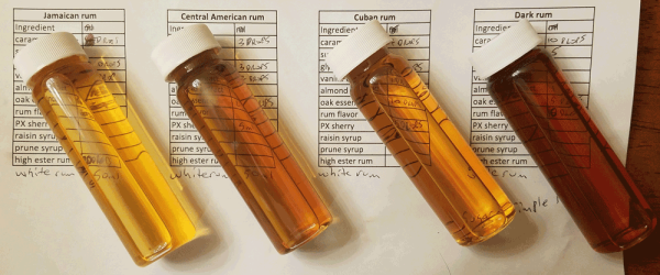Vials of fake rum